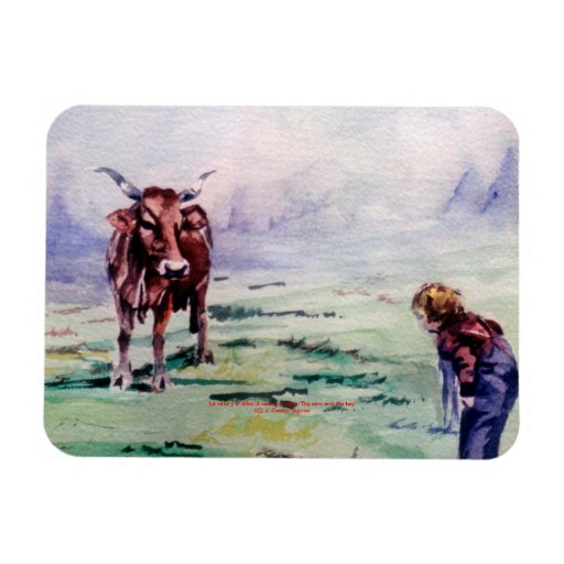 The cow and the boy/The cow and the I go Rectangular Magnets