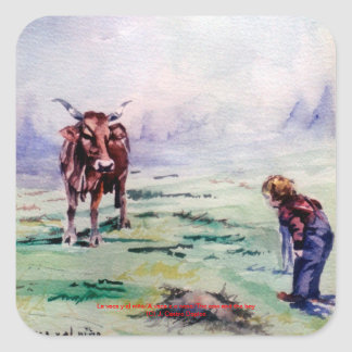 The cow and the boy/The cow and the I go Square Sticker