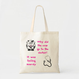The cow and the doctor budget tote bag