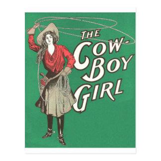 The Cow Boy Girl - Vintage Postcard