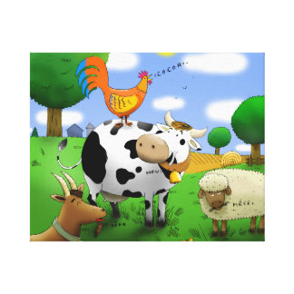 the cow in the pre one canvas print