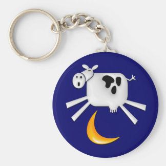 The Cow Jumped Over the Moon Basic Round Button Key Ring
