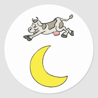 The Cow Jumped Over The Moon Round Sticker