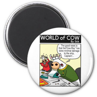 """The """"COW-RAY"""" 6 Cm Round Magnet"""