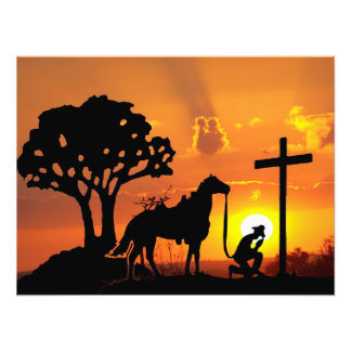 The Cowboy at the foot of the cross digital art Photo Print