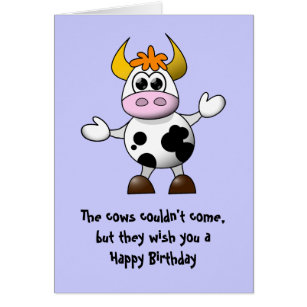 Animation funny cow birthday cards invitations zazzle the cows couldnt come happy birthday card bookmarktalkfo Images