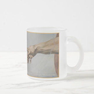 """ The Creation of Adam"" Frosted Glass Coffee Mug"