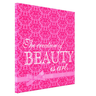 """The creation of beauty is art"" pink bow damask Stretched Canvas Print"
