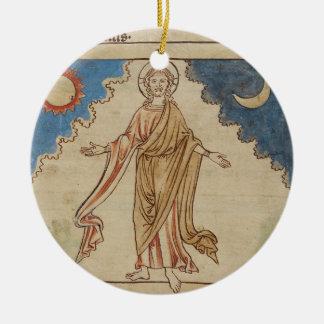 The Creation of Sun, Moon and Stars Round Ceramic Decoration
