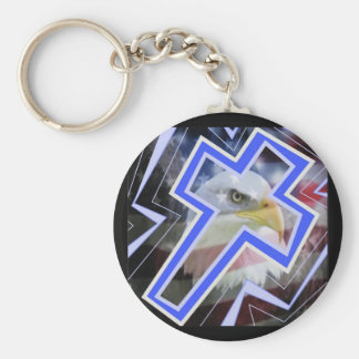 The Cross and the american symbols Basic Round Button Key Ring