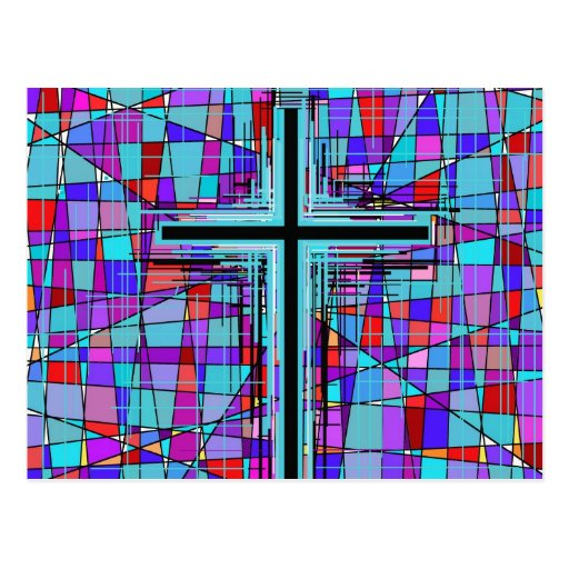 The Cross in Stained Glass. Postcard