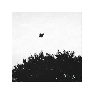 The crow flies on - gothic black and white canvas gallery wrap canvas