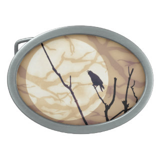 The Crow, The Moon, The Shadows Oval Belt Buckles