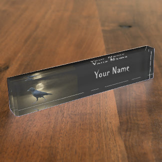 The Crow Walks by Moonlight Desk Nameplates