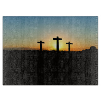 The Crucifixion Crosses at Sunset Cutting Board