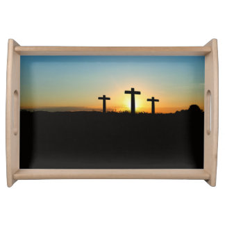 The Crucifixion Crosses at Sunset Serving Tray