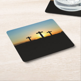 The Crucifixion Crosses at Sunset Square Paper Coaster
