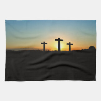 The Crucifixion Crosses at Sunset Tea Towel