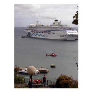 The cruise ship AIDAblu in the harbor of Funchal,  Postcard