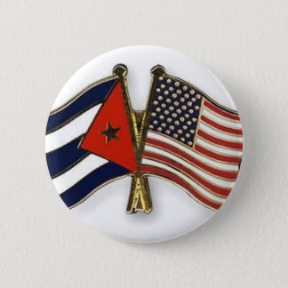 The Cuban Flag and the American Flag 6 Cm Round Badge