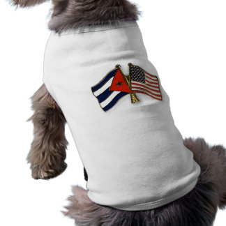 The Cuban Flag and the American Flag Sleeveless Dog Shirt