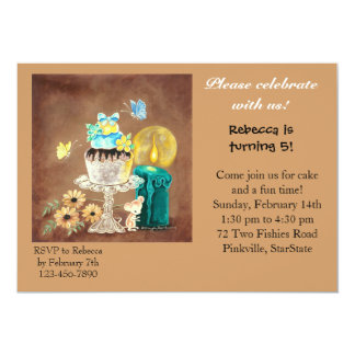 """The Cupcake, the Candle, and the Mouse 5"""" X 7"""" Invitation Card"""