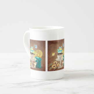 The Cupcake the Candle and the Mouse Bone China Mugs