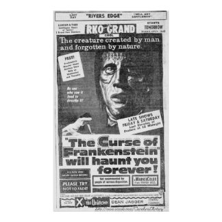 """""""The Curse of Frankenstein"""" (1957) Ad - Poster"""