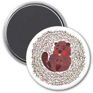The Cute Baby Beaver 7.5 Cm Round Magnet