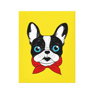 The cute Frenchie scout is ready for his adventure Canvas Print