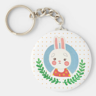 The Cute Rabbit Basic Round Button Key Ring