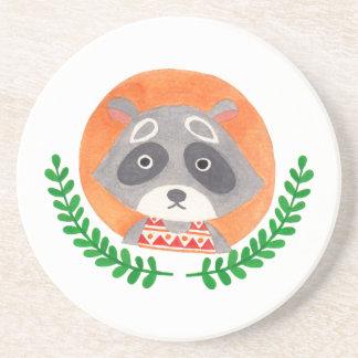 The Cute Raccoon Sandstone Coaster