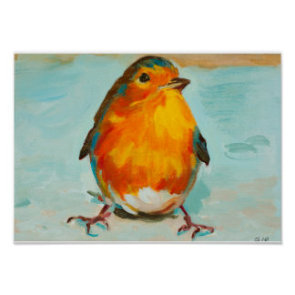 The Cute Red English Robin Poster