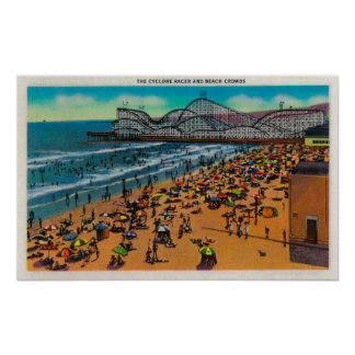 The Cyclone Racer and Beach Crowds, Long Beach Poster