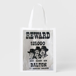 The Dalton Gang Wanted Poster Reusable Grocery Bag
