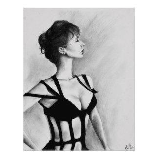 The Dame Original Art Portrait Drawing Photo Print