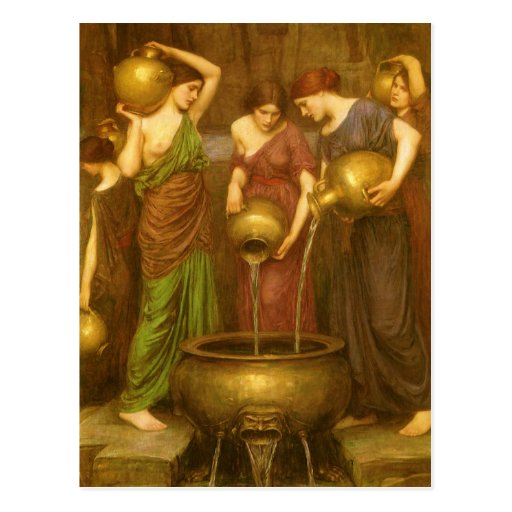 The Danaides by Waterhouse, Vintage Victorian Art Post Card