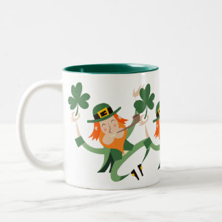 The Dancing Leprechaun Two-Tone Coffee Mug