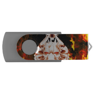 The dark side, skull surrounded by fire swivel USB 2.0 flash drive