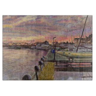 The Davenport Sailing Club, Mississippi River Art Cutting Board