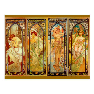 The Day - by Alphonse Mucha Postcard