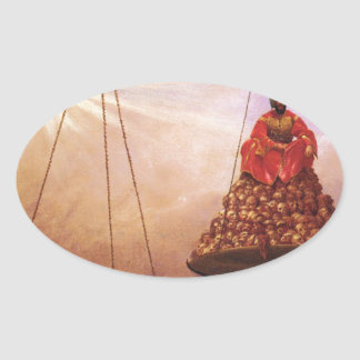 The Day of Judgement by Jean-Leon Gerome Oval Sticker
