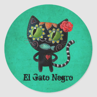 The Day of The Dead Black Cat Round Sticker