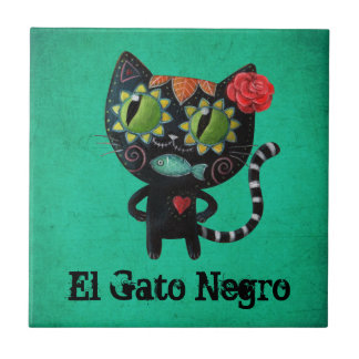 The Day of The Dead Black Cat Tile