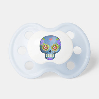 The Day of The Dead Blue Sugar Skull Baby Pacifiers