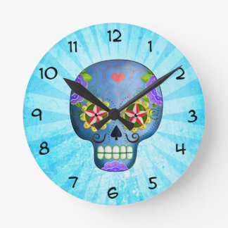 The Day of The Dead Blue Sugar Skull Wall Clock