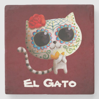 The Day of The Dead Cute Cat Stone Beverage Coaster