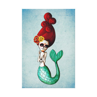 The Day of The Dead Lovely Mermaid Gal Canvas Print