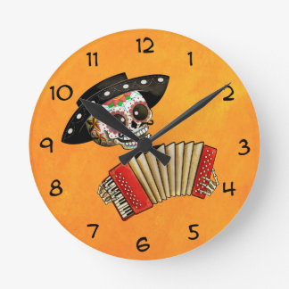 The Day of The Dead Skeleton El Mariachi Round Clock
