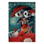 The Day of The Dead Skeleton Lovers Poster